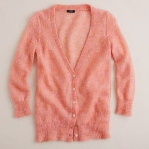 J. Crew Mohair Souffle Cardigan in Guava